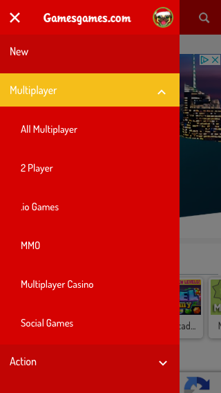 Gamesgames Mobile Menu - Open Label