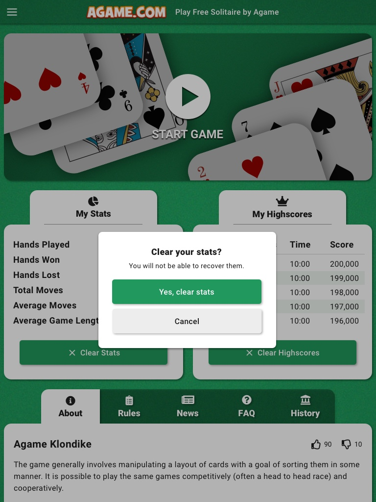 Solitaire Subdomain - Clear Stats Tablet