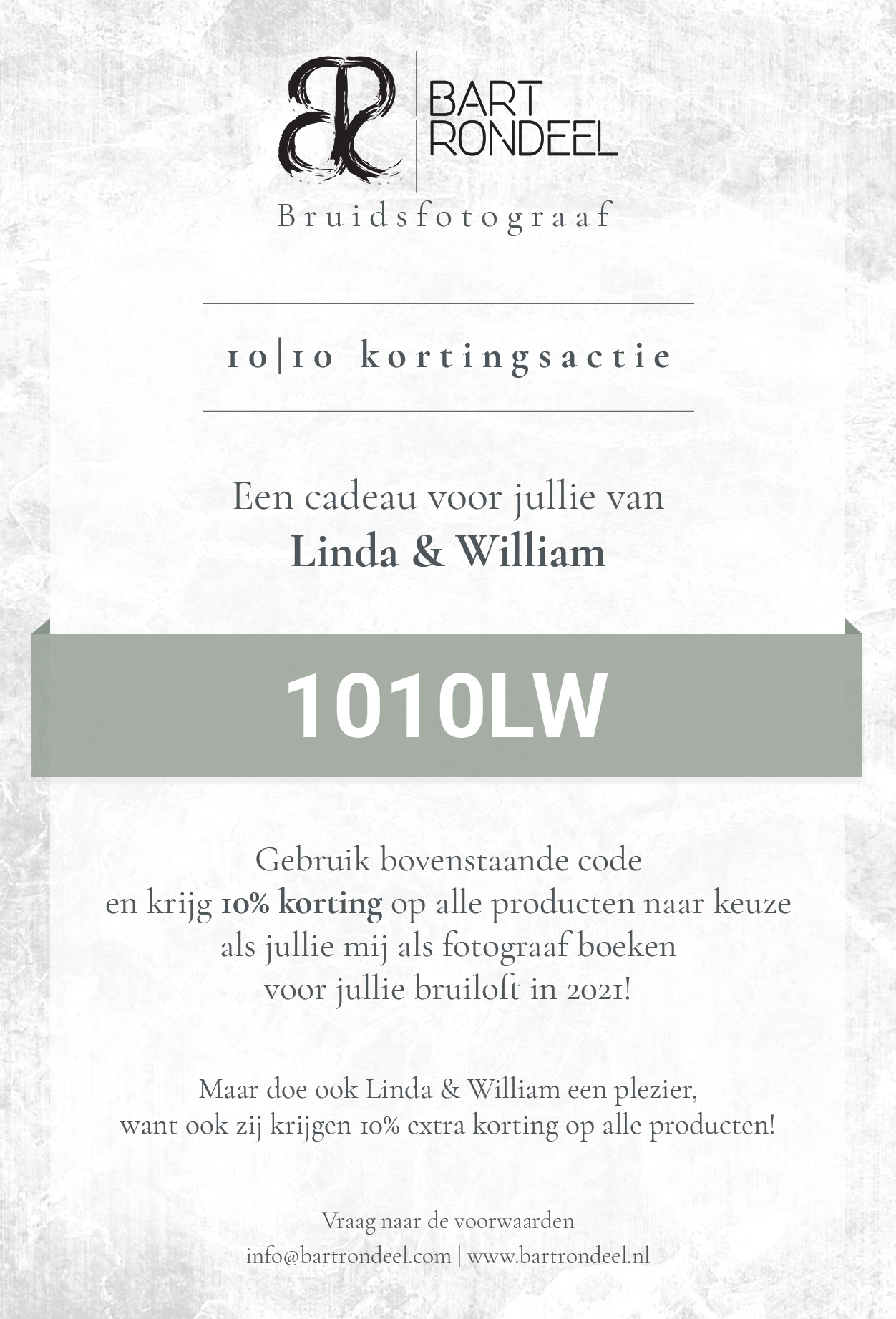 Flyer Bart Rondeel Photography 1010 Kortingsactie