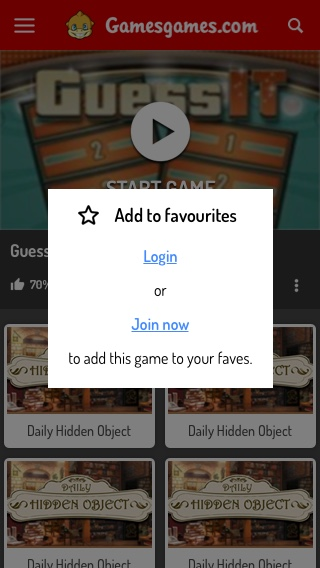 Mobile Game Page - Favourites