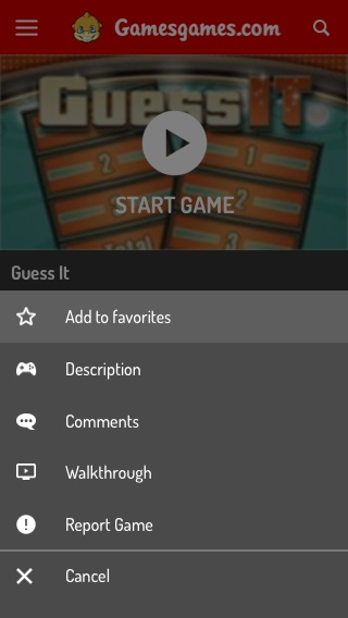 Mobile Game Page - Options