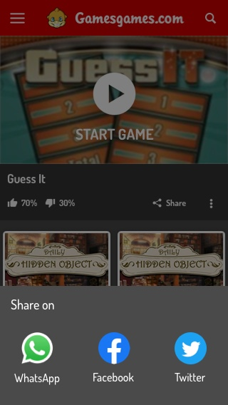 Mobile Game Page - Share Menu